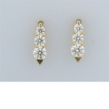 thumbnail image of Estate Hearts On Fire Illusion Gold Diamond Earrings