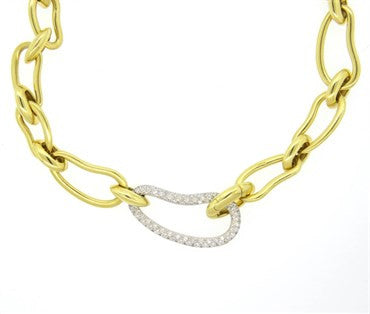 image of Pomellato Paisley 1.28ctw Diamond 18k Gold Large Link Necklace