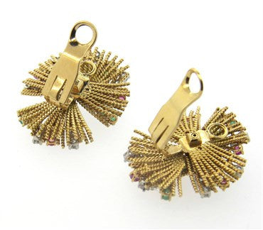 thumbnail image of 1950s Gold Diamond Ruby Emerald Earrings