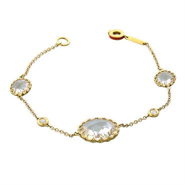 thumbnail image of Ivanka Trump 18k Gold Rock Crystal Diamond Bracelet