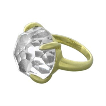 image of New Ippolita 18K Yellow Gold Clear Quartz Ring