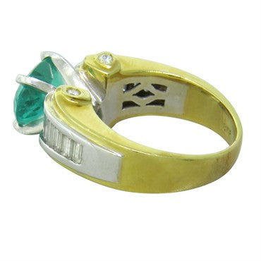 thumbnail image of J. B. Star 18k Gold Emerald Diamond Ring