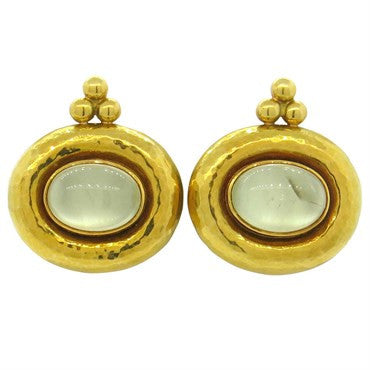 thumbnail image of Elizabeth Gage Gold Moonstone Cabochon Earrings