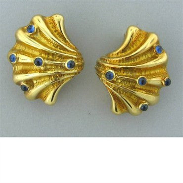 image of Tiffany & Co 18k Gold Sapphire Seashell Earrings