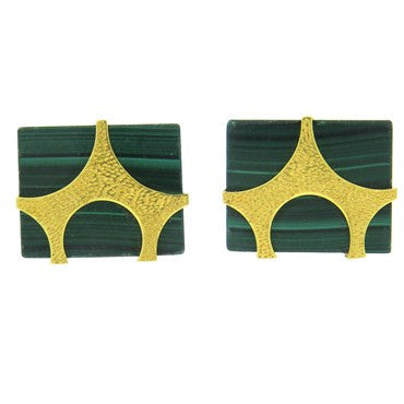 image of Massive Modernist Malachite Gold Cufflinks