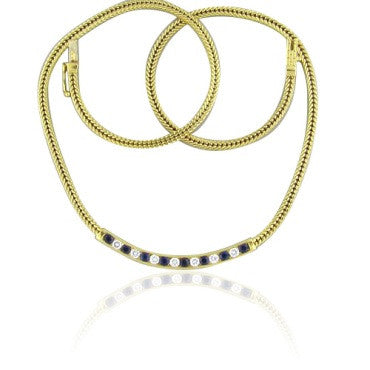 image of Modern Tiffany & Co 18k Gold Sapphire Diamond Necklace
