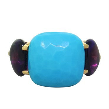 image of New Pomellato Tango 18k Gold Turquoise Amethyst Ring