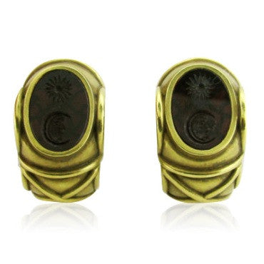 image of Kieselstein Cord 18K Gold Intaglio Moon & Star Earrings