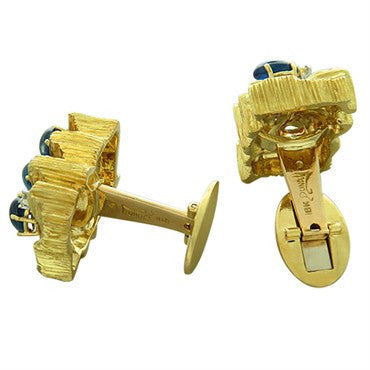 image of 1970s Henry Dunay 18K Gold Sapphire Diamond Cufflinks