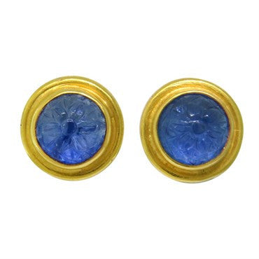 image of Reinstein Ross Carved Sapphire 22k Gold Earrings