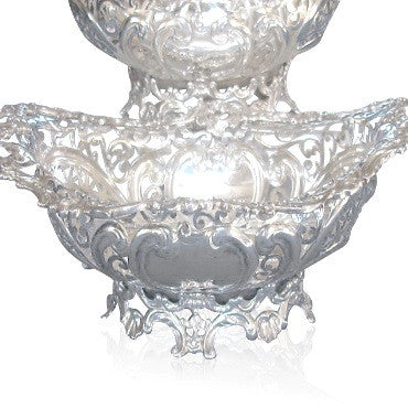 image of Pair of Antique Howard & Co Sterling Reticulated Bowls