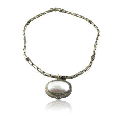 image of Estate Michael Dawkins Sterling Silver Abalone Necklace
