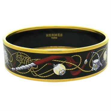 image of Hermes Gold Tone Enamel Bangle Bracelet 63mm