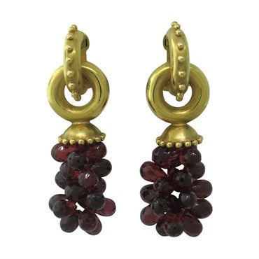 image of Elizabeth Locke Gold Garnet Earrings