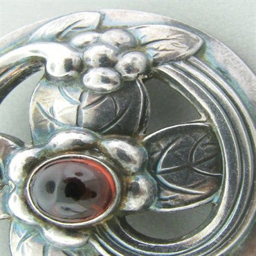 thumbnail image of Estate Georg Jensen Sterling Silver Garnet Brooch Pin