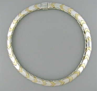 image of Tiffany & Co Sterling Silver 18K Gold Necklace