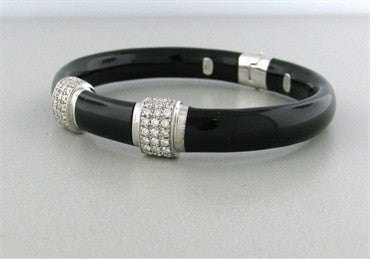 thumbnail image of Soho 18K White Gold Black Enamel Diamond Bangle Bracelet