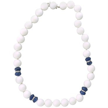 image of Seaman Schepps Sapphire White Agate Bead Diamond Gold Necklace