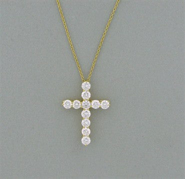 thumbnail image of Tiffany & Co 18k Gold 1.87ctw Diamond Cross Pendant Necklace