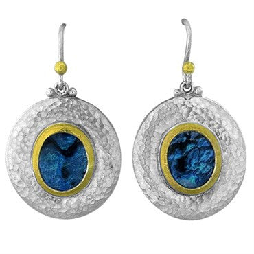 image of Gurhan Sterling Silver 24k Gold Paua Shell Drop Earrings