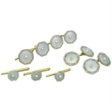 thumbnail image of Larter & Sons 1920s Deco Gold Mother of Pearl Cufflinks Stud Set
