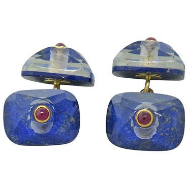 image of Trianon Lapis Crystal Ruby Cufflinks