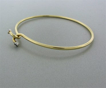 image of Vintage Tiffany & Co 14k Yellow Gold Diamond Sapphire Bangle Bracelet