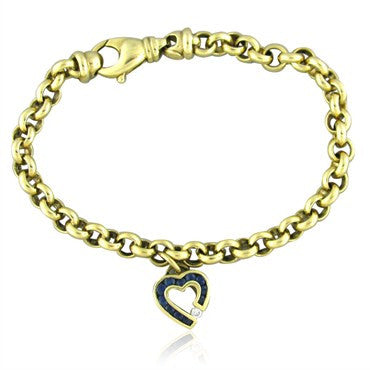 image of Charles Krypell 18K Gold Sapphire Diamond Heart Charm Bracelet