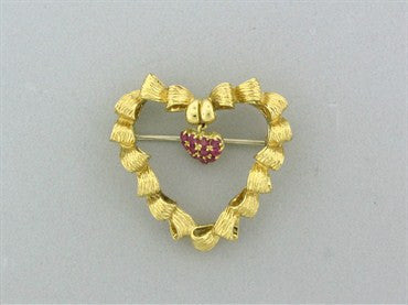 thumbnail image of Vintage Tiffany & Co 18K Yellow Gold Ruby Heart Brooch Pin