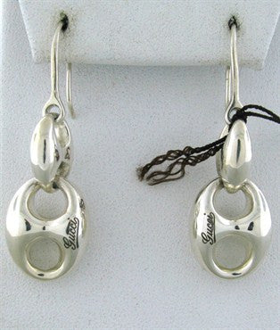 image of Brand New Gucci Sterling Silver Chain Drop Earrings With Tags