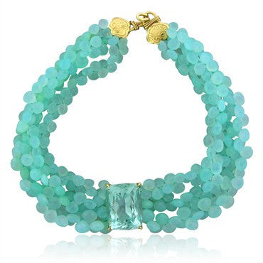 image of Stephen Dweck 18K Gold Peruvian Opal 107.8ct Aquamarine Necklace
