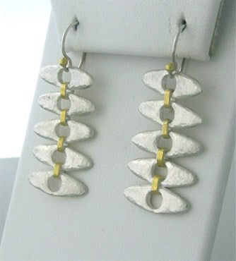 image of New Gurhan Linked Seed 24K Gold Sterling Silver Drop Earrings