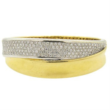 thumbnail image of Wempe Crossover 5.00ctw Diamond 18k Gold Bangle Bracelet
