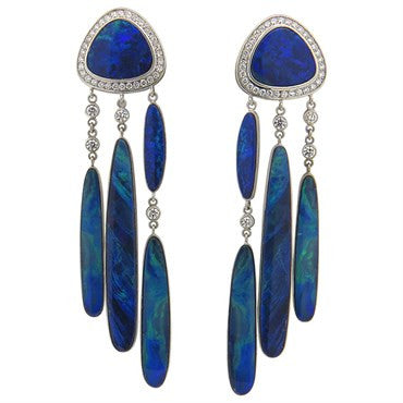 thumbnail image of Impressive Jorge Adeler 14k Gold Black Opal Diamond Earrings