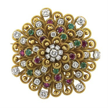 image of Impressive Vourakis Emerald Ruby Diamond 18k Gold Brooch