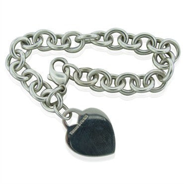 image of Estate Tiffany & Co Sterling Silver Heart Charm Bracelet