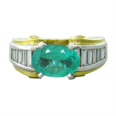 image of J. B. Star 18k Gold Emerald Diamond Ring