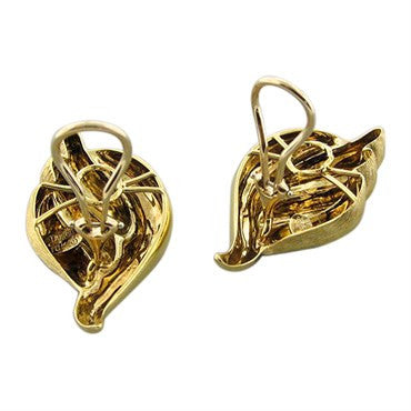 image of Henry Dunay 18K Yellow Gold Brushed And Polished Finish Earrings