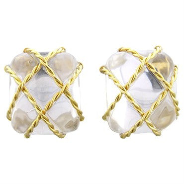 image of Seaman Schepps 18k Gold Crystal Cage Earrings