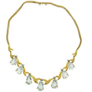 thumbnail image of 1950s Aquamarine Diamond 18k Gold Drop Necklace