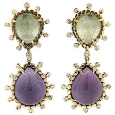 image of H. Stern Diamond Gemstone Cabochon 18k Gold Drop Earrings