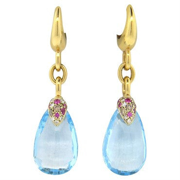 thumbnail image of Pomellato Pin Up Blue Topaz Sapphire Diamond 18k Gold Drop Earrings