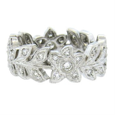 18k Gold Diamond Flower Leaf Motif Band Ring