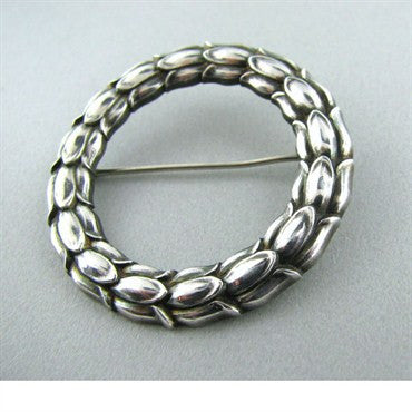 image of Georg Jensen Sterling Silver Circle Flower Brooch 301