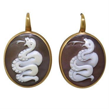 image of Pomellato Eva Hardstone Cameo 18k Gold Earrings