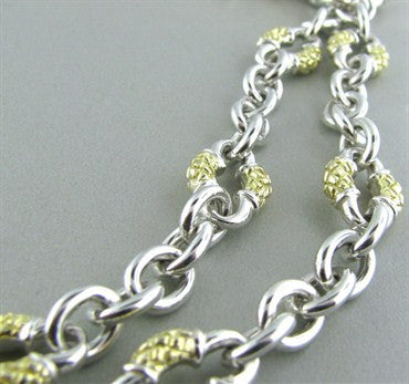 thumbnail image of Scott Kay Sterling Silver 18K Gold Chain Link Two Strand Necklace