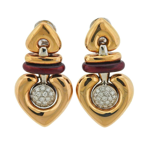 image of La Nouvelle Bague Gold Diamond Red Enamel Earrings