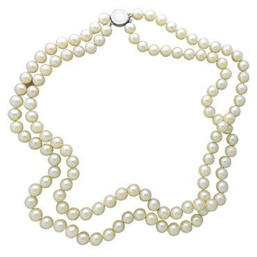 image of Estate 14k Gold 8.5mm to 8.75mm Pearl Double Strand Necklace