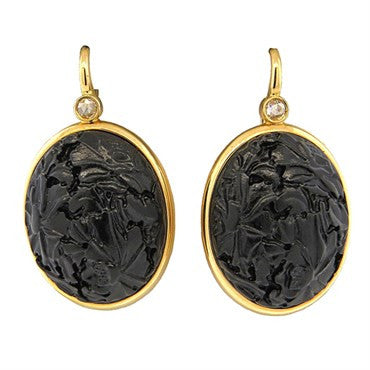 image of Pomellato Victoria Rose Cut Diamond Carved Jet Earrings