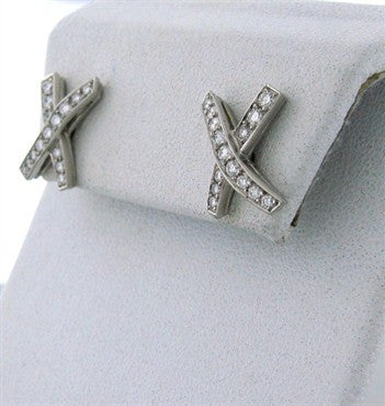 thumbnail image of Estate Tiffany & Co Paloma Picasso Platinum Diamond X Earrings